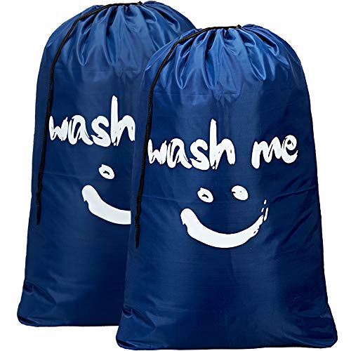 (HOMEST 2 Pack Wash Me Travel Laundry Bag, 28 x 40 Inches Rip-Stop Nylon Heavy Duty Dirty Clothes Bag with Drawstring, Machine Washable, Anti-Odor, Navy Blue)