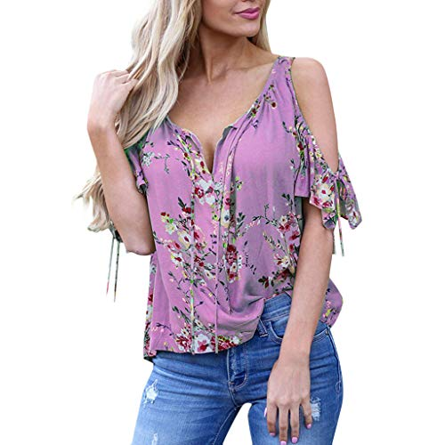 TOTOD Women's V-Neck Loose Flower Printed T-Shirt Casual Strapless Off Shoulder Ruffled Bandage Tops Light Purple
