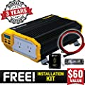 Krieger 1100 Watt 12V Power Inverter Dual 110V AC Outlets, Installation Kit Included, Automotive Back Up Power Supply for Blenders, Vacuums, Power Tools MET Approved According to UL and CSA