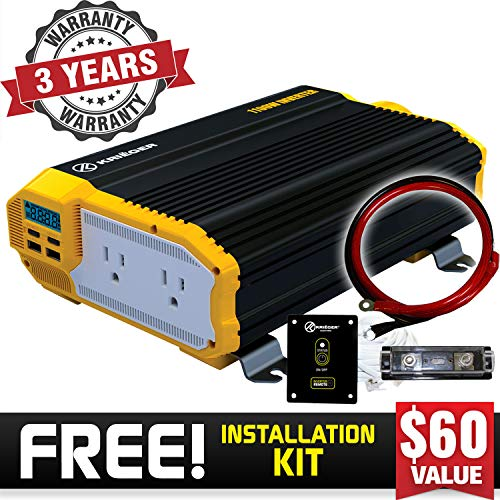 KRIËGER 1100 Watt 12V Power Inverter Dual 110V AC Outlets, Installation Kit Included, Automotive Back Up Power Supply For Blenders, Vacuums, Power Tools MET Approved According to UL and CSA.