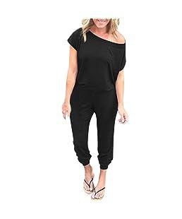 Kstare Women Sexy Halter Playsuit Bodycon Party Bodysuit Ladies Jumpsuit Romper Mini Trousers Clubwear (Black2, Large)