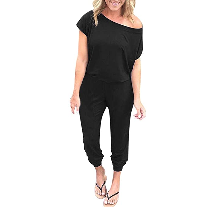 a3b8a7d37cce Orangeskycn Summer Jumpsuits for Women Casual Off Shoulder Short Sleeve  Rompers Long Playsuit Black