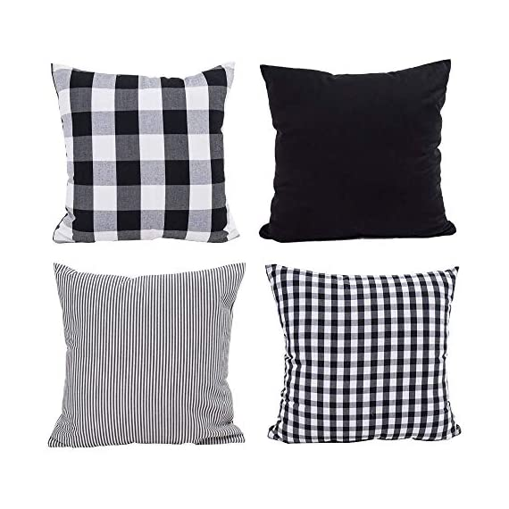 HOPLEE Outdoor Pillow Covers 20x20 Black and White Pillow Covers Buffalo Plaid Stripe and Gingham Design Set of 4 - 1.Black Throw Pillow Covers Size: 20x20 inch / 50x50cm(1-2cm deviation).This set comes with 4 pieces pillow covers,NO PILLOW INSERTS INCLUDED. 2.This set decorative pillow covers with 4 pieces black and white geometric pillow covers, the same on two sides. 3.20 x 20 pillow covers are matched with the invisible zipper. Disassemble freely, convenient to change. Help you decor your home more gorgeous with these farmhouse pillow covers. - patio, outdoor-throw-pillows, outdoor-decor - 51qalYp4PNL. SS570  -