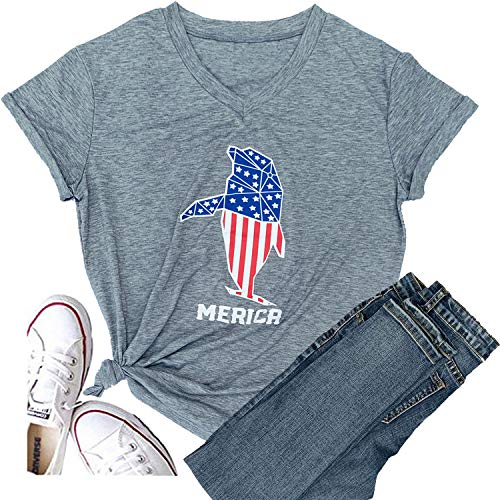 Women Faith Family Freedom USA American Flag Short Sleeve Graphic Tees Baseball Funny T Shirts Causal Cute Summer Tops Blouse (XX-Large, Dolphin-Gray)