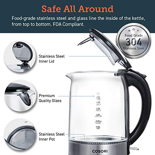 COSORI Electric Kettle(BPA-Free) 1.7 L Glass Water Boiler & Tea Heater with LED Indicator Light,Auto Shut-Off & Boil-Dry Protection, 100% Stainless Steel Inner Lid & Bottom, Black