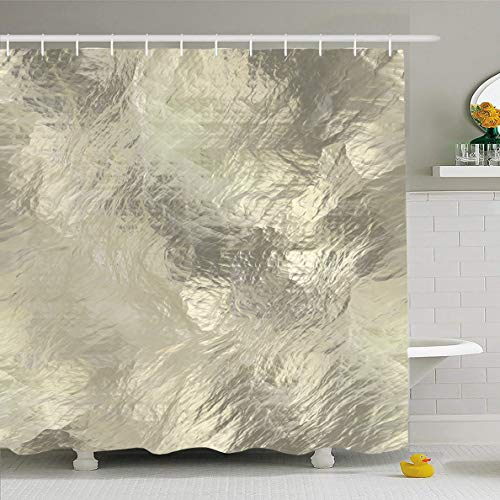 - Ahawoso Shower Curtain 72x78 Inches Striated Gray Crystal Rough Glass Abstract Wave Yellow Chiseled Closeup Crumpled Gem Glossy Wall Waterproof Polyester Fabric Set with Hooks