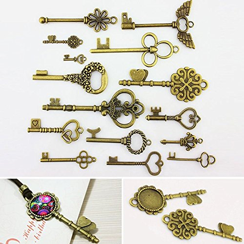 15 pcs Retro Vintage Handmade Diy Accessories Jewelry Ornaments Material Bronze Key Bracket Key Necklace DIY