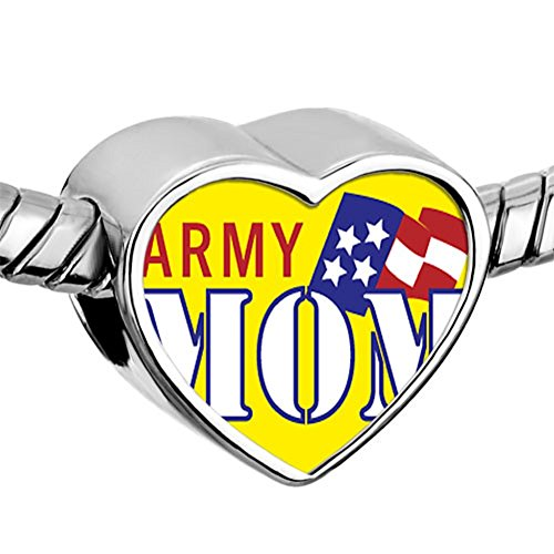 ReisJewelry Best Mom Charm Mothers Day Charms Photo Beads for Bracelets (Style-3) (Pandora Army Mom Charms)