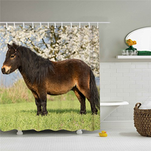 Ugly Fat Small New Horse, Mildew Resistant Fabric Polyester 100% Shower Curtain. -69