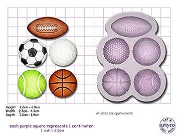 Molde con forma de pelotas de deporte, golf, tenis, rugby, fútbol y baloncesto, para manualidades y alimentación: Amazon.es: Hogar