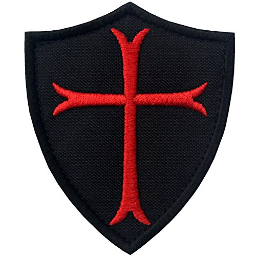 Velcro Cross - Knights Templar Cross Shield Military Morale Embroidered Fastener Hook & Loop Patch - Black & Red