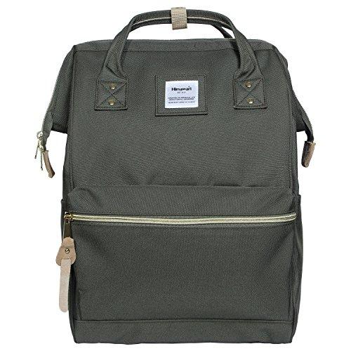 Himawari Polyester Backpack Unisex Vintage School Bag Fits 13-inch laptop Green
