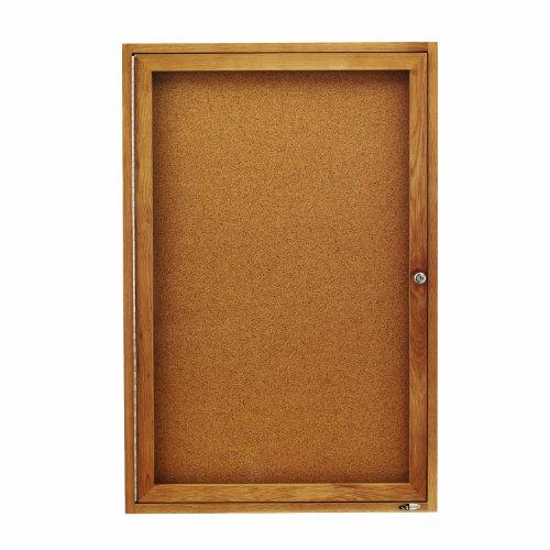 Oak Indoor Cork Board - Quartet Enclosed Cork Indoor Bulletin Boards, 2 x 3 Feet, 1 Door, Oak Finish (363)