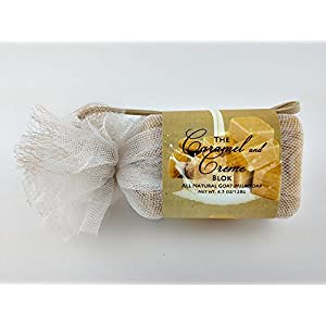 Caramel & Cream Bar - One All Natural Goat Milk Soap With Lemon, Almond, Lavender, and Ginger Essential Oils (4.5oz)