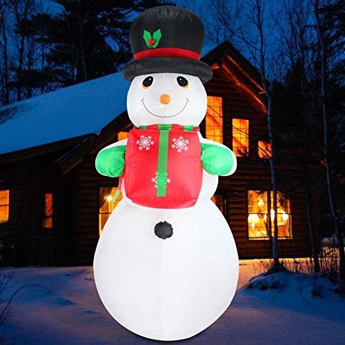 Christmas 8 Ft Inflatable Snowman Gift Carry Xmas Lighted Blow-Up Airblown Inflatable Flashing Colorful for Yard Party Decoration