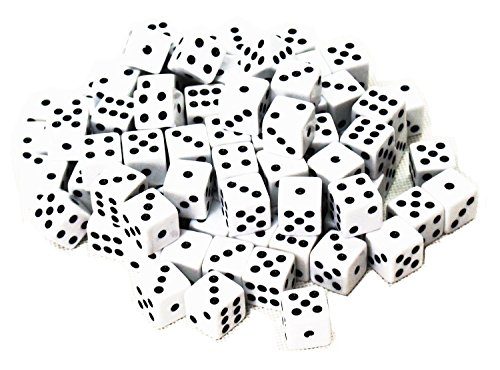 Onwon 100 Pcs White Dice with Black Spots For Board Games Activity Casino Theme Party Favors Toy Gifts - (Grown Up Party Themes)
