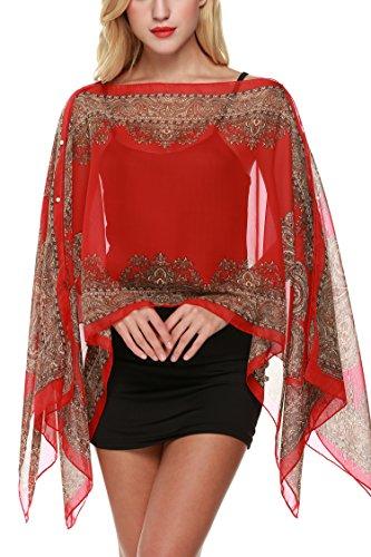- She-life Womens Chiffon Caftan Poncho Tunic Caftan Tops Summer Fall Many Styles