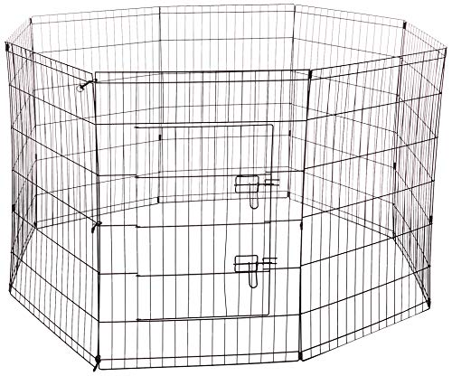 Dog Exercise Pen Pet Playpens for Large Dogs - Puppy Playpen Outdoor Back or Front Yard Fence Cage Fencing Doggie Rabbit Cats Playpens Outside Fences with Door - 36 Inch -