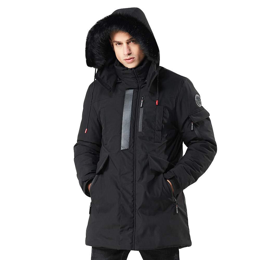 Lisin Mens Winter Medium Length Zipper Hoodie Thickened Wind Proof Cotton Outwear Coat