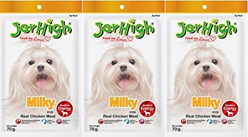 JerHigh Milky Real Chicken Meat Stick, Premium Quality Snack Dog, 70 gm./2.46 Oz (Pack of 3)