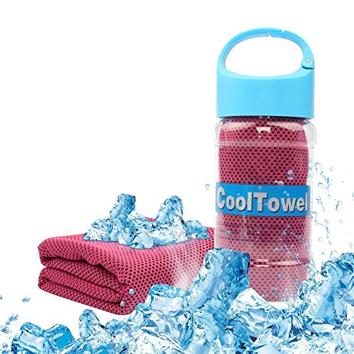 Thiroom Cooling Towel for Sports, Fitness, Gym & Yoga,Tennis, Gym, Hiking & Running and Other Sports with Waterproof Plastic bottle (Red))