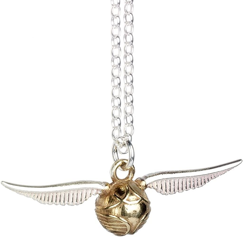 Harry Potter Official Jewelry Sterling Silver Golden Snitch Pendant Necklace