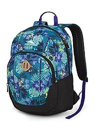 High Sierra Pirk Backpack (17.5 by 12 by 8.5-Inch), Aloha, Black, Deep Purple, International Carry-On