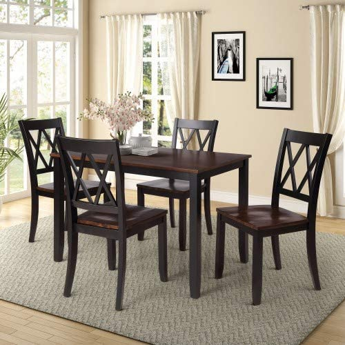 MOOSENG 5 Pieces Counter Height Dining Set Table and 4 Chairs Ideal for Family Gathering and Kitchen, Black Cherry