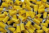 10-12 Gauge Vinyl Locking Spade # 8 Connector 500 PK Yellow Crimp Terminal AWG