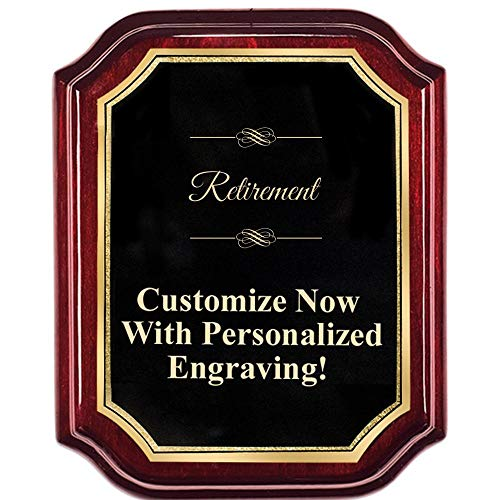 Personalized Mahogany Lifetime Plaques, Custom Engraved Retirement Plaque with Gold Trim and Up to 5 Lines of Engraving Included ()