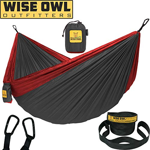 Wise Owl Outfitters Hammock for Camping Single & Double Hammocks Gear for The Outdoors Backpacking Survival or Travel - Portable Lightweight Parachute Nylon DO Charcoal & Red ()