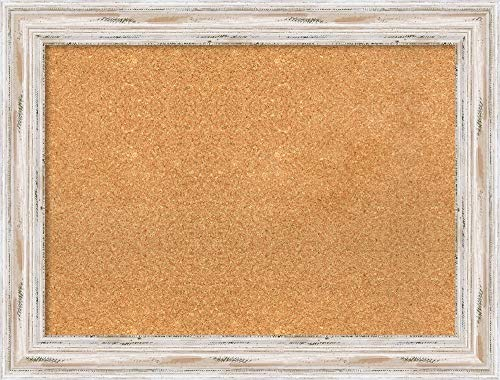 Amanti Art Large, Outer Size 33 x 25 Natural Cork Alexandria White Wash Framed Bulletin Boards, 28x20
