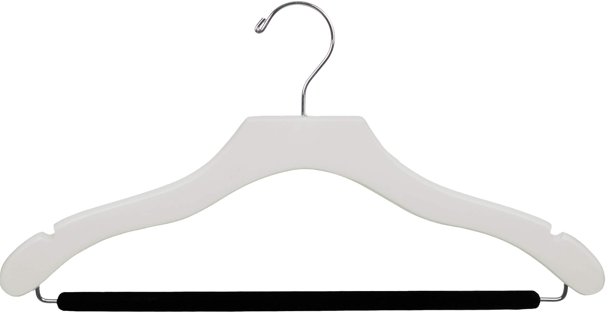 The Great American Hanger Company Wavy White Wood Suit Hanger w/Velvet Non-Slip Bar, Box of 100 Space Saving 17 Inch Flat Wooden Hangers w/Chrome Swivel Hook & Notches for Shirt Dress or Pants