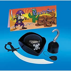 Juego completo para los piratas sombrero, espada y gancho, y parche en el ojo