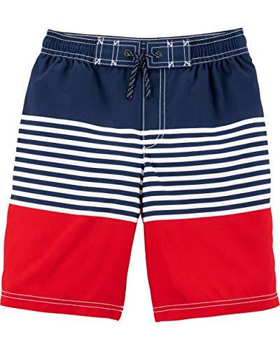 Carter's Little Boys' Swim Trunk, red/Blue Stripe, 8 ()
