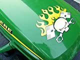 Racing Lawn Mower Parts Hood Decal - PistonHead - 16 Colors - for John Deere & all riding ride on lawn garden mower tractor racing (Banana)