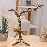 YJBear Zinc Alloy America Pastoral Style Jewelry Rack Green Leaf Dragonfly Yellow Flower Decorated Necklace Earring Holder Tree Pattern Metal Jewelry Organizer 5.4'' X 5.4''