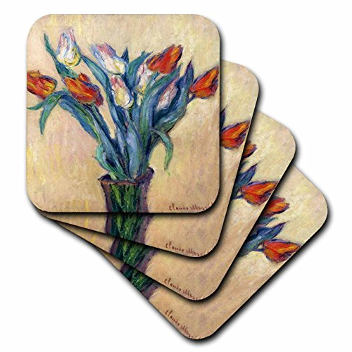 - 3dRose Print of Monet Painting Vase of Tulips - Ceramic Tile Coasters, Set of 4 (CST_204112_3)