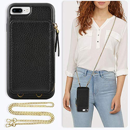 ZVE Case for Apple iPhone 8 Plus and iPhone 7 Plus, 5.5 inch, Leather Wallet Case with Crossbody Chain Credit Card Holder Slot Zipper Purse Case for Apple iPhone 8/7 Plus and 8 Plus 5.5 - Black Cross Cell Phone Case