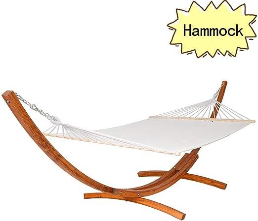 WEIBO - Moderna Hamaca de jardín de Madera con Soporte de Arco sólido para Tumbona al Aire Libre: Amazon.es: Jardín