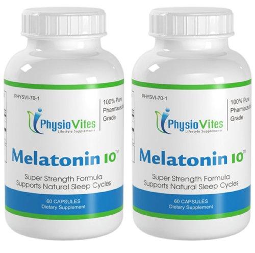 La mélatonine 10 Super Force soutiens naturels cycles de sommeil mélatonine PhysioVites 10mg 120 Capsules 2 Bouteilles