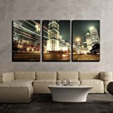 """wall26 - 3 Piece Canvas Wall Art - Shanghai Lujiazui Finance and Trade Zone of the Modern City Night Background - Modern Home Decor Stretched and Framed Ready to Hang - 16""""x24""""x3 Panels"""