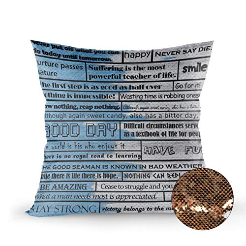 T&H Home Mermaid Pillow Cover,Sequin Pillow Case Inspirational Motivational Happiness Quotes for Courage Be Awesome Poster Print Rustic Cabin Cushion Pillowcases with Bling Paillette, Gold 20x20 Inch -