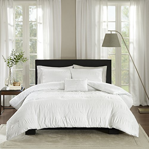 Madison Park Nicolette Duvet Cover Full/Queen Size - White, Striped Duvet Cover Set - 4 Piece - 100% Cotton Light Weight Bed Comforter Covers