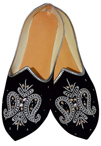 Embroidered MJ0185 Shoes Wedding Mens Black Velvet INMONARCH xY0pOwq