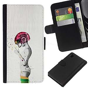 ZCell / Sony Xperia Z1 L39 / Abstract Pink Smoking Grey Man Deep / Caso Shell Armor Funda Case Cover Wallet / Resumen Rosa Fumar Gris Hombre Deep