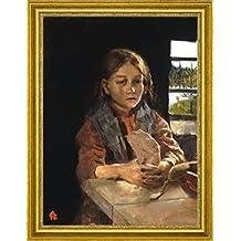 "Girl Singing the Bark Bread Song by Akseli Gallen-Kallela - 16"" x 21"" Framed Premium Canvas Print"