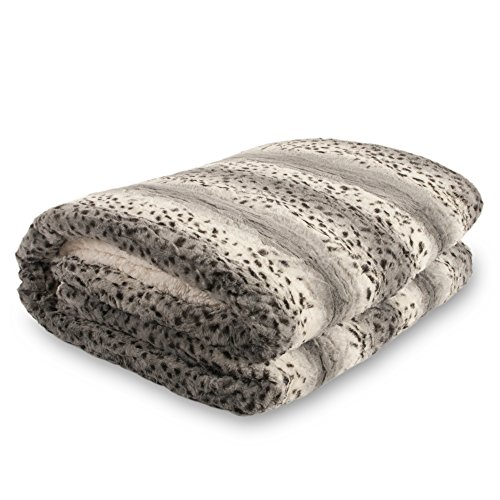 Bella Safari Faux Fur Plush Throw Blanket Comforter AQ607, Queen, Snow Leopard]()