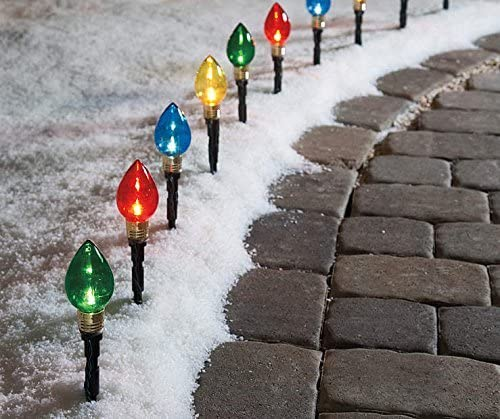 Multi-Color Light Bulb Pathway Markers, 11 Inch 2.76 Inch Bulb , 10 Pack