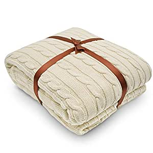 Cotton Knitted Blanket. 180 x 200cm Extra Large Combed Cotton Knitted Throw Blanket, Couch Cover by YACHEE.(Cream)